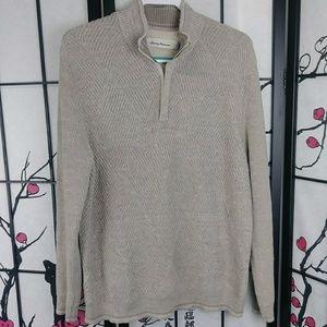 Tommy Bahama Pima Cotton Half Zip Sweater Textured